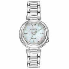 Citizen Women's 30mm Silver Steel Bracelet & Case Mineral Glass Watch EM0330-55D
