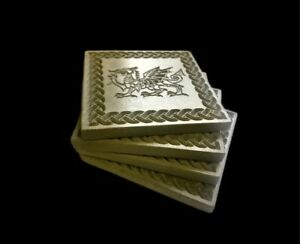 Welsh Dragon And Celtic Border Coaster Cement Screed Mid Grey price per coaster