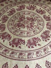 Indiano 100% cotone doppia dimensione BORDEAUX/CREMA circolare Elefanti Stampa Copriletto