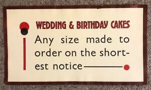 ORIGINAL 1920s UNUSUAL TYPOGRAPHIC SMALL SHOP POSTER - WEDDING & BIRTHDAY CAKES