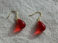 Red teardrop glass beads earrings Every day Minimalist jewellery Gift for her