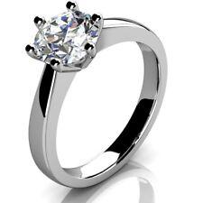 0.70ct Anillo De Compromiso Solitario Diamante Redondo, Reino Unido caracteriza Platino