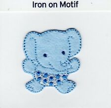 BLUE BABY ELEPHANT SITTING IRON ON APPLIQUE MOTIF PATCH, BRAND NEW