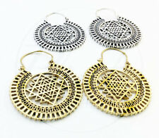 Hoops Earrings in Brass Silver Plated 2 Pairs Tribal Ethnic Sri Yantra Goddess