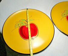 """2 Vintage 13"""" Plastic Serving Trays APPLE yellow red green Japan mid century old"""