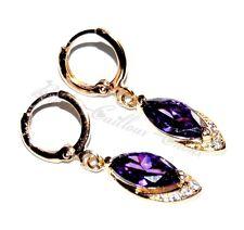 Boucles d'oreilles couleur or anneaux goutte violet écrin bijou earring