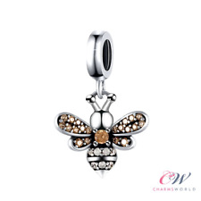 Silver Queen Bee Charm Genuine 925 Sterling Silver Rose Gold Crystals 🐝