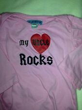 "Shu-Shi-Shop.Com Girls Sz. 12 Month Pink Tee. "" My Uncle Rocks"" Great Shape"