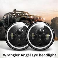 "1x7"" faro LED RGB Halo proiettore Angel Eye DRL per Jeep Wrangler JK TJ LJ nuovo"