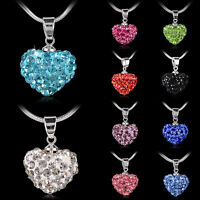 Fashion Women Pendant Jewelry Crystal Heart Necklace Silver Plated Chain Choker