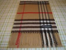 2 PLY Cashmere Scarf Camel Black BIG NOVA CHECK TARTAN Plaid Scotland WOOL A55