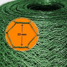 Kaninchendraht Hasengitter Drahtgitter Drahtzaun 6Eck Grün PVC 25mm Maschenweite