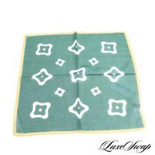 LNWOT MODERN Silk Cotton Italy Billiard Green Amoeba Geometric Pocket Square #1