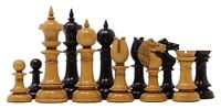 """Northern Upright Vintage 5"""" Antiqued Reproduction Ebony wood Chess Pieces"""