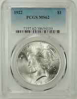 1922-P $1 PEACE SILVER DOLLAR PCGS MS62 #38654110 -  GREAT LOOKING BU COIN!!!
