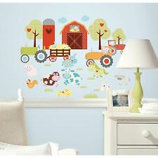 BARNYARD wall stickers 42 decals pigs cows farm scrapbook animals tractor barn