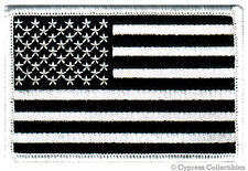 AMERICAN FLAG EMBROIDERED PATCH iron-on US BLACK WHITE embroidered United States