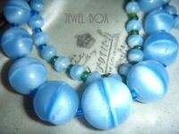 ART DECO CZECH BOHEMIAN HEAVENLY BLUE SATIN ARTGLASS BEADS Vintage NECKLACE