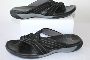 Clarks Active Air Women's Casual Black Leather Suede Flat Shoes Sliders Size 8 D