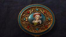 Antique French Very Decorative Jeweled Miniature Enamel Brass Dresser Box