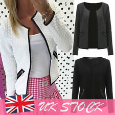 UK Stock New Womens Casual Jackets Ladies Slim Short Blazer Suit Plus Size 10-16