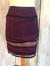 Costa Transparente en capas púrpura 100% Seda Falda 10