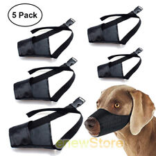 5 Pcs Anti-Barking Pet Muzzles Adjustable Dog Muzzle Mouth Cover for S-Xxxl Blk