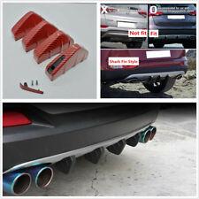4 x Red Carbon Fiber Look Car Rear Bumper Lip Diffuser Shark Fins Bumper Protect
