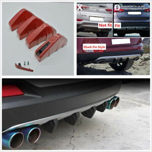 4 x Red Carbon Fiber Look Car Rear Bumper Lip Diffuser Shark Fins Bumper Protect
