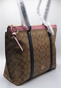NWT Coach May Signature Color block Tote  In Khaki/ Midnight/Pink Multi 2319