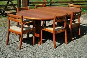 DANISH DINING TABLE & 6 X CHAIRS RARE DESIGNER DYRLUND TEAK WOOD COLLECT LE8