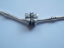 ANTIQUE SILVER TONE BUTTERFLY BEAD-CHARM FOR CHARM BRACELET