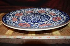Toyo Asian Porcelain w/ Flowers Pink Blue & White Plate / Platter / Tray 13""