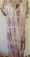 TIE DYE Caftan Dress Lounger Soft Rayon Brown & White Boho Hippie Maxi L/XL!