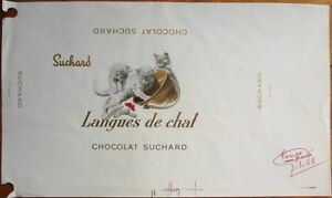 'Cat Tongues' 1958 French Chocolate Box Labels- Chocolat Suchard Langues de Chat