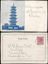 HONG KONG QV PPC LOONG HWA PAGODA SHANGHAI to NEWCASTLE GB...BREWER + CO CARD