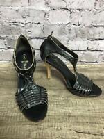 "Cole Haan Women's Black Leather Heels Strappy Open Toe Sz 6.5B 3.5"" Heel"