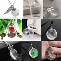 Wish Glass Necklace Real Seeds in Glass Pendant Necklace Charm Women Girls Gift