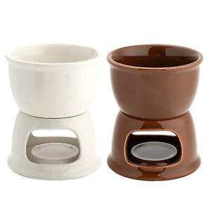 DIY Kitchen Chocolate Cheese Melting Pot Ceramic  Fondue Melter Machine Set