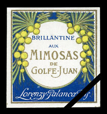 Antique French Perfume Label Early 1900's Mimosas Lorenzy Palanca Paris France