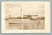 Beautiful Wooden Motor Boat—Everett Massachusetts RPPC Antique Photo 1931