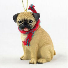 "LARGE 3"" PUG FAWN DOG CHRISTMAS ORNAMENT HOLIDAY Figurine Scarf  gift tan"