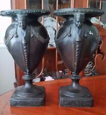 Pair Antique Bronze Urns Planter Vases Figural Handles VERY RARE