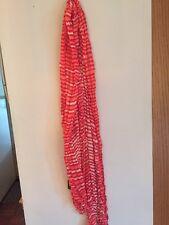Orange Red Stripe Scarf With White. New