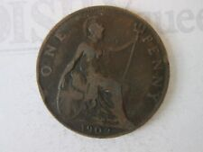 1902 ONE 1 Lg PENNY! Vintage GREAT BRITAIN coin: copper composition     IS315