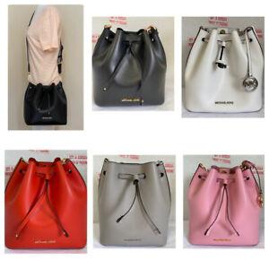 Michael Kors Eden Medium Leather MK Signature Bucket Crossbody Shoulder Bag