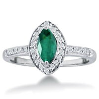 14K WHITE GOLD 1CT MARQUISE EMERALD AND DIAMOND HALO RING, SIZE-8, 9