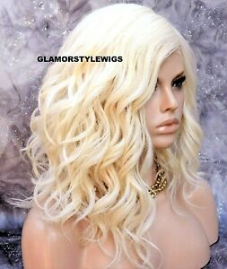 Human Hair Blend Lace Front Full Wig Bob Wavy Layered Platinum Blonde #613A NWT
