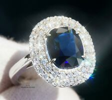 Sapphire Gold Ring Diamond Blue Natural 3.92CTW NO HEAT Certified RETAIL $12300