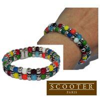 SCOOTER Bracelet original élastique plaqué argent perle multicolore bijou